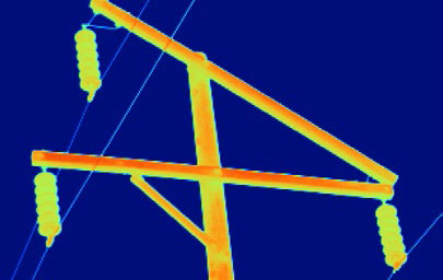 Thermal image of an electrical power line pole with 2X lens