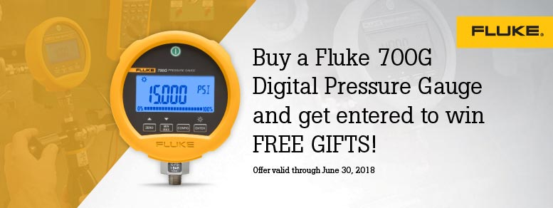 Purchase a Fluke 700G Digital Pressure Gauge and get entered to win FREE GIFTS when you register.
