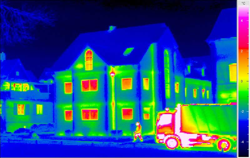 Viewing homes through thermal imager, displaying heat signatures
